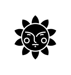 sun face icon black sign on vector image