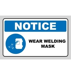 Wear a welding mask vector