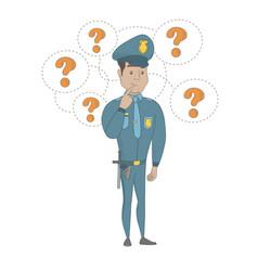 Young hispanic policeman thinking vector