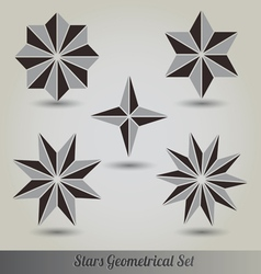 Set stars polyhedron for graphic design vector