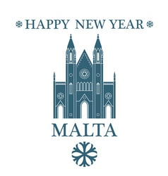 Happy new year malta vector