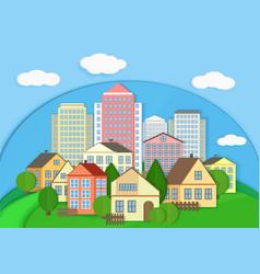 Modern city town cardboard landscape paper color vector