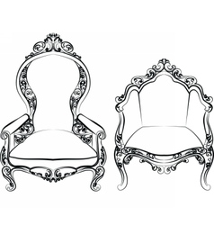 Elegant armchair set with luxurious ornaments vector image