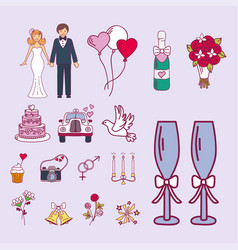 Bride and groom wedding couple marriage nuptial vector