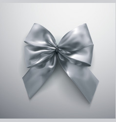 Silver bow and ribbons vector