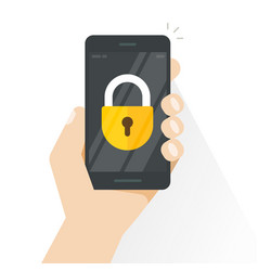 Smartphone locked hand holding mobile vector