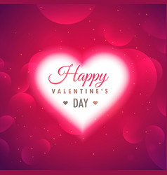 Beautiful glowing heart on pink background for vector