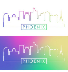 Phoenix skyline colorful linear style vector