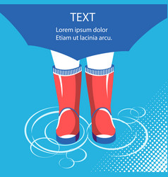 Rain backgroundhuman legs in rubber boots under vector