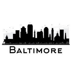 Baltimore city skyline black and white silhouette vector