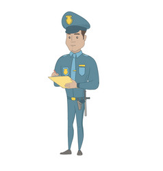 Young hispanic traffic policeman writing fine bill vector