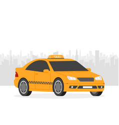 yellow taxi car in front of city silhouette in vector image