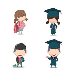 Set graduated pupils drawing by hand vector