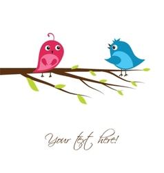 Cute birds on the tree branch vector