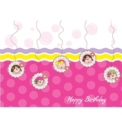 happy birthday greeting card with five little vector image