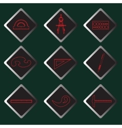 Set red icons of drawing accessories vector
