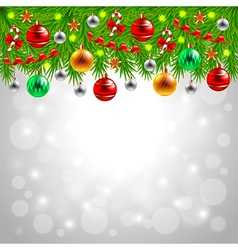 Christmas tree branches on snowy background vector