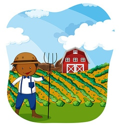 Farmer working in the farmland vector