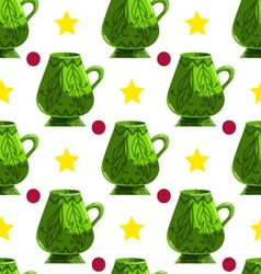 Seamless pattern with cartoon mugs-4 vector