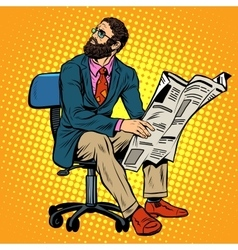 Bearded businessman reading a newspaper vector
