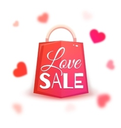 Sale banner with red hearts vector