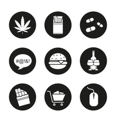 Addictions icons vector