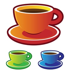 Colorful coffee cups vector