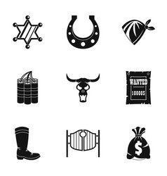 american wild west icon set simple style vector image vector image