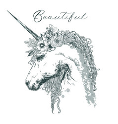 Beautiful unicorn with floral wreath vector
