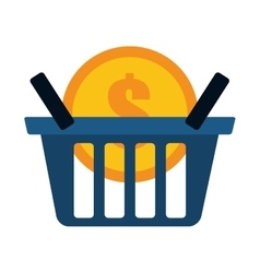 Blue basket buy coin dollar vector