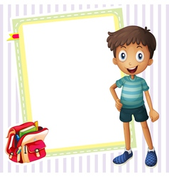 boy school bag and white board vector image vector image