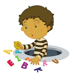 Boy with letters vector image vector image