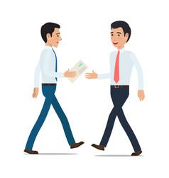 Businessmen handing correspondence flat vector