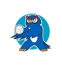 Cartoon blue owl volleyball player vector image vector image
