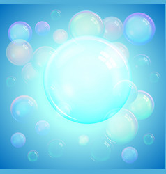 colorful background of realistic soap bubbles vector image