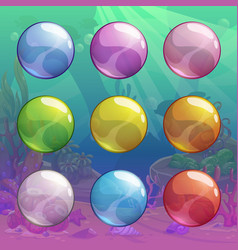 colorful cartoon glossy transparent bubbles set vector image vector image