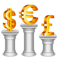 Currency symbols on sport podium vector image vector image