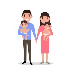Cute cartoon young parents with twins vector