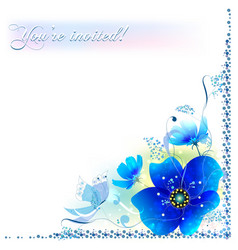 Delicate blue flowers in a frame vector