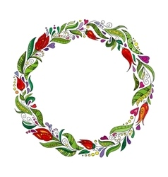 Detailed contour wreath with herbs tulips and vector image vector image