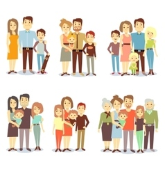Families different types flat icons set vector image vector image