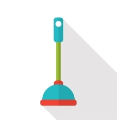 Flat toilet plunger icon vector