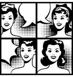 for comic books with retro girl in pop art style vector image vector image