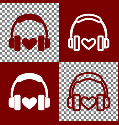 headphones with heart bordo and white vector image vector image