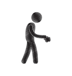 Man throwing paper draw pictogram vector