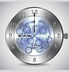 metal mechanical clock with gears on grey vector image vector image