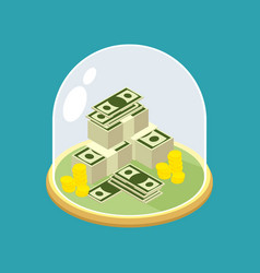 Money under glass bell transparent dome for vector