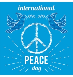 peace day poster with peace symbol and dove vector image