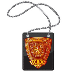 police badge leather holder with chain vector image