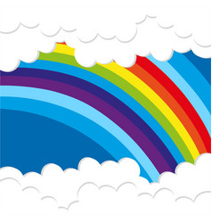 rainbow background with fluffy clouds vector image